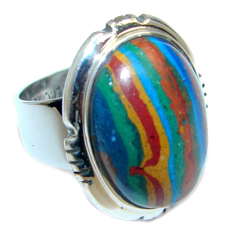 Blue Rainbow Calsilica Sterling Silver ring size 6 1/2