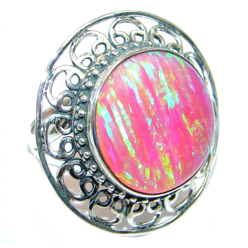 Pink Lab created Fire Opal Sterling Silver Ring size adjustable