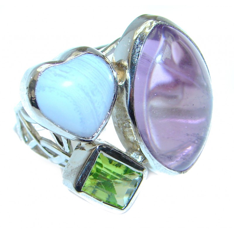 Outstanding Beauty Pink Amethyst Sterling Silver ring size adjustable