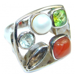 Palette of colors Multigem Sterling Silver Ring size 7 1/2