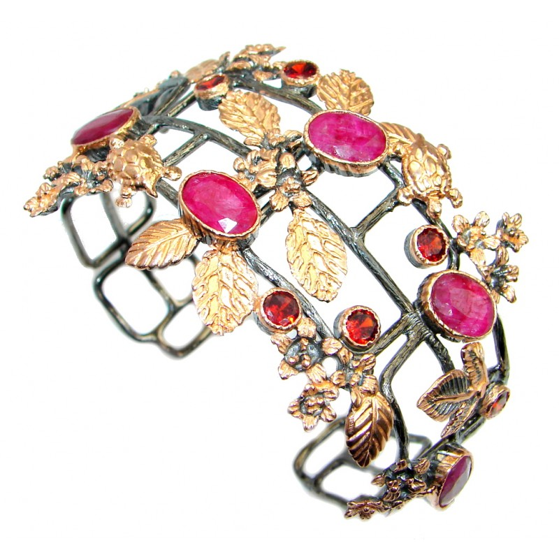 Large Floral Design Ruby Roee Gold Rhodium plated over Sterling Silver Bracelet / Cuff