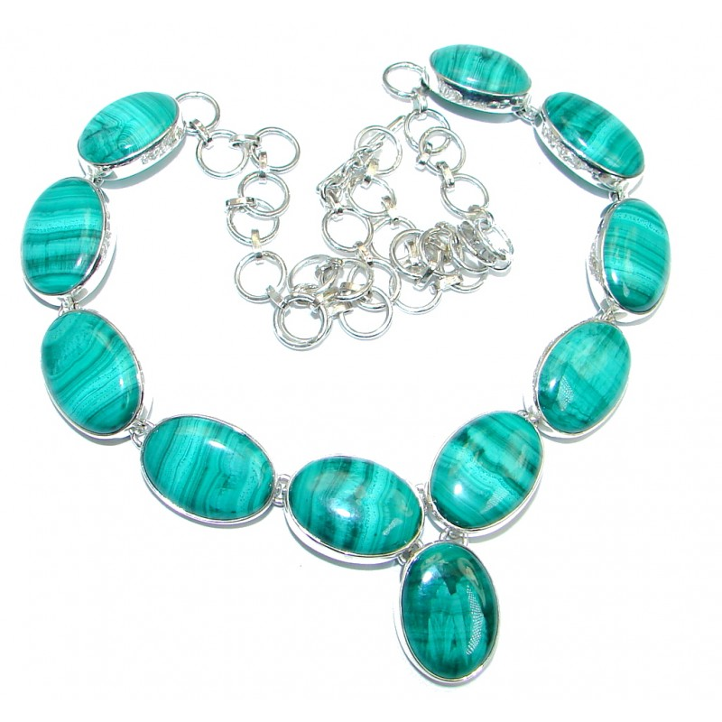 Very Unusual AAA Green Malachite Sterling Silver handmade necklace