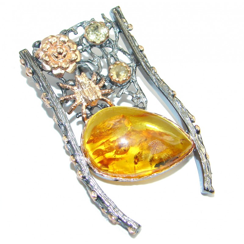 Vintage Design Golden Baltic Amber Gold Rhodium plated over Sterling Silver Pendant