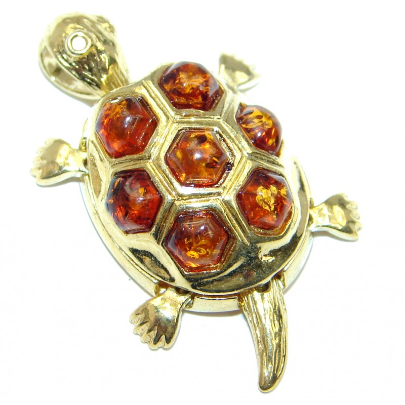 Turtle Genuine Polish h Amber Gold over Sterling Silver handmade Pendant