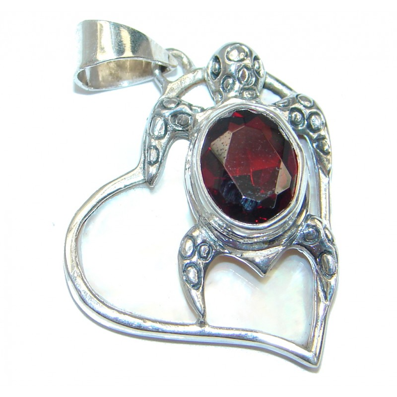 Turtle Faceted Garnet Sterling Silver Pendant