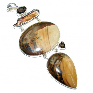 Large Incredible Design AAA Picture Jasper Sterling Silver Pendant