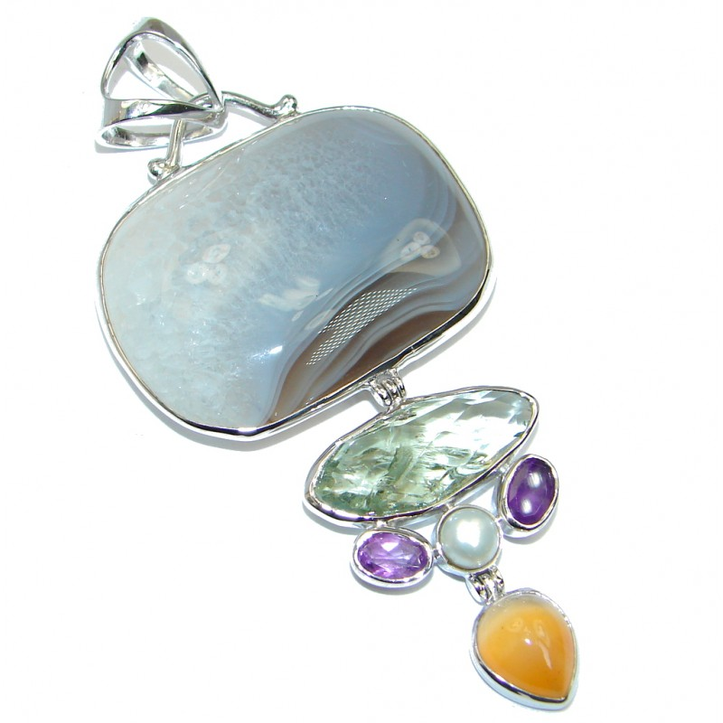 Huge Perfect Botswana Agate Sterling Silver handmade Pendant