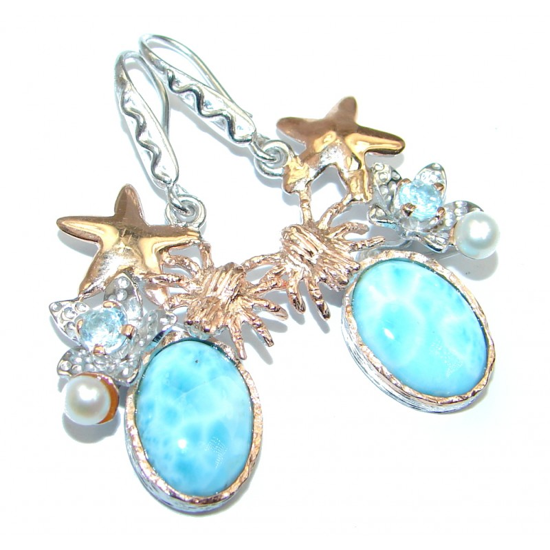 Precious Blue Larimar Rose Gold Over Sterling Silver handmade earrings