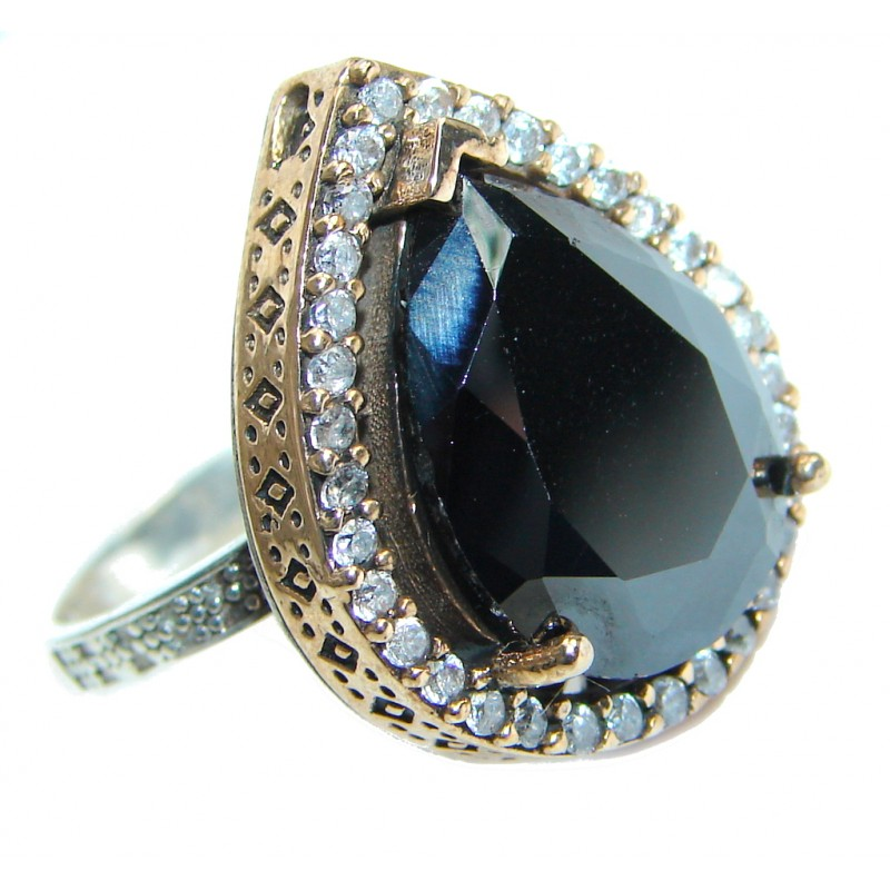 Amazing AAA Black Onyx Copper over Sterling Silver ring size 8 1/4