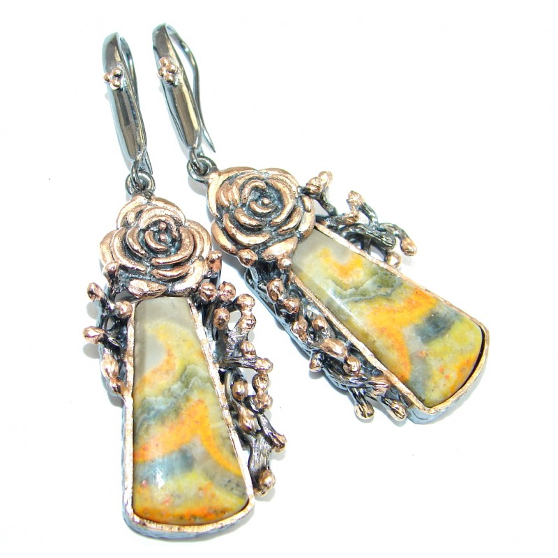 Floral Design Aura Bumble Bee Jasper Rose Gold plated over Sterling Silver earrings