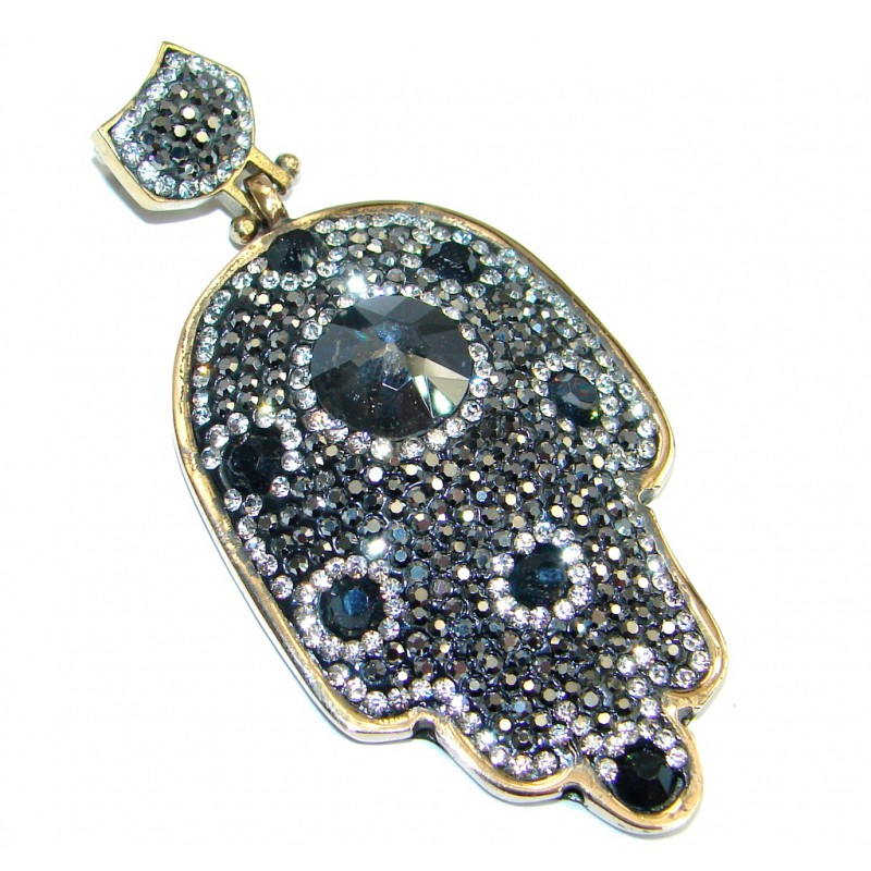 Victorian Style Hamsa Hand Onyx & White Topaz Sterling Silver Pendant