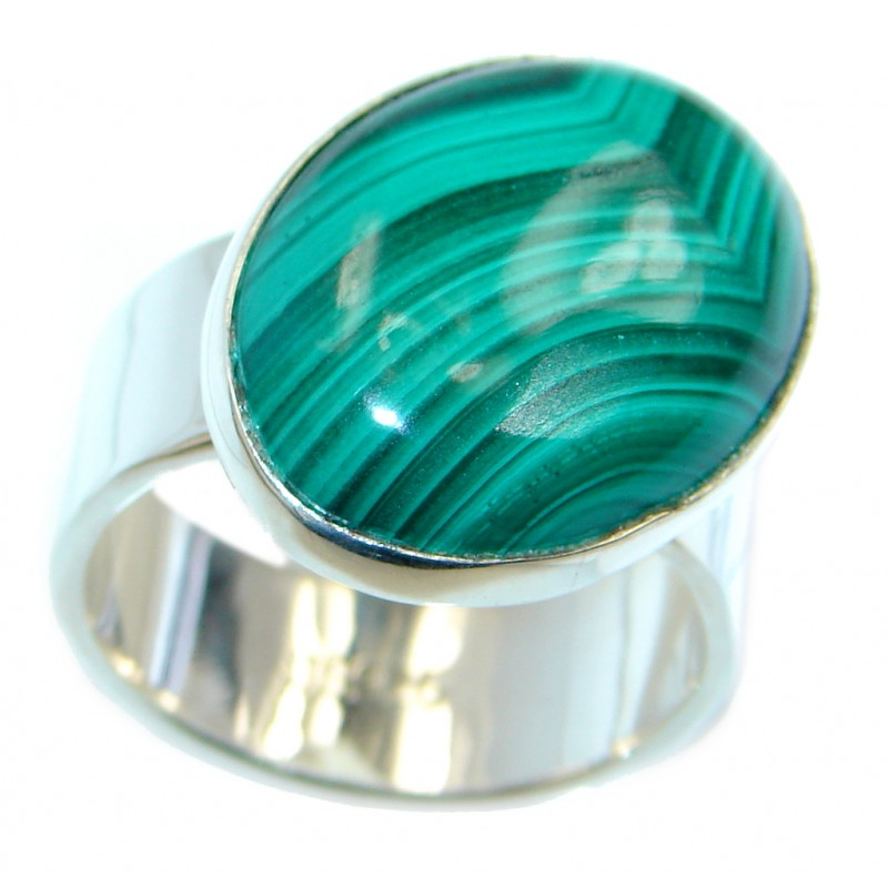 Natural AAA Green Malachite Sterling Silver ring s. 8 1/4
