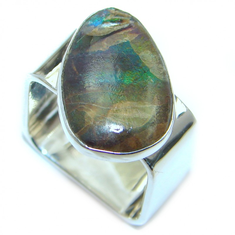 Rainbow Green Fire AAA Ammolite Sterling Silver ring s. 6