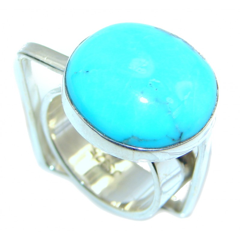 Modern Sleeping Beauty Blue Turquoise Sterling Silver Ring s. 7