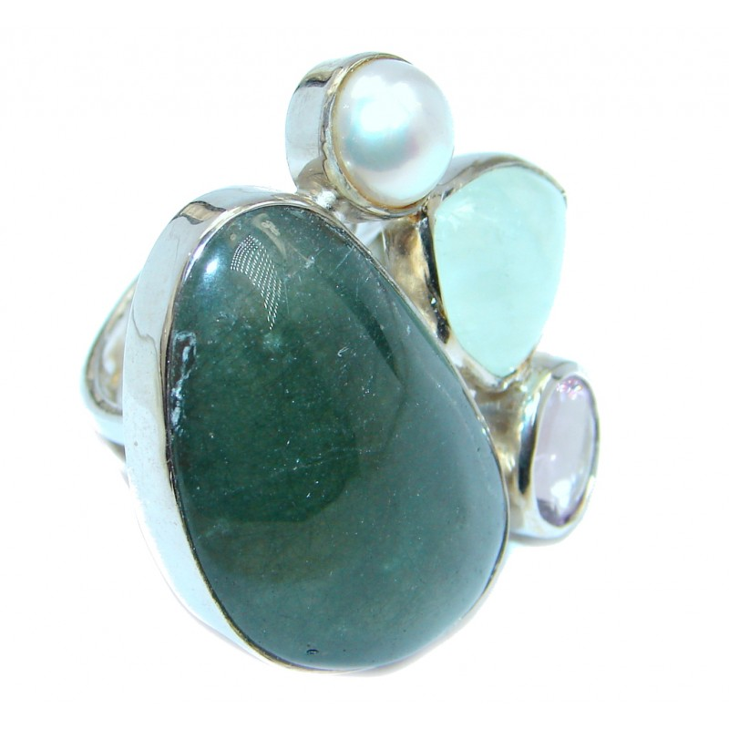Supernova AAA+ Green Moss Prehnite Sterling Silver ring; size adjustable
