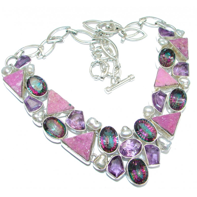 Rainbow Druzy & Amethyst Sterling Silver handcrafted necklace