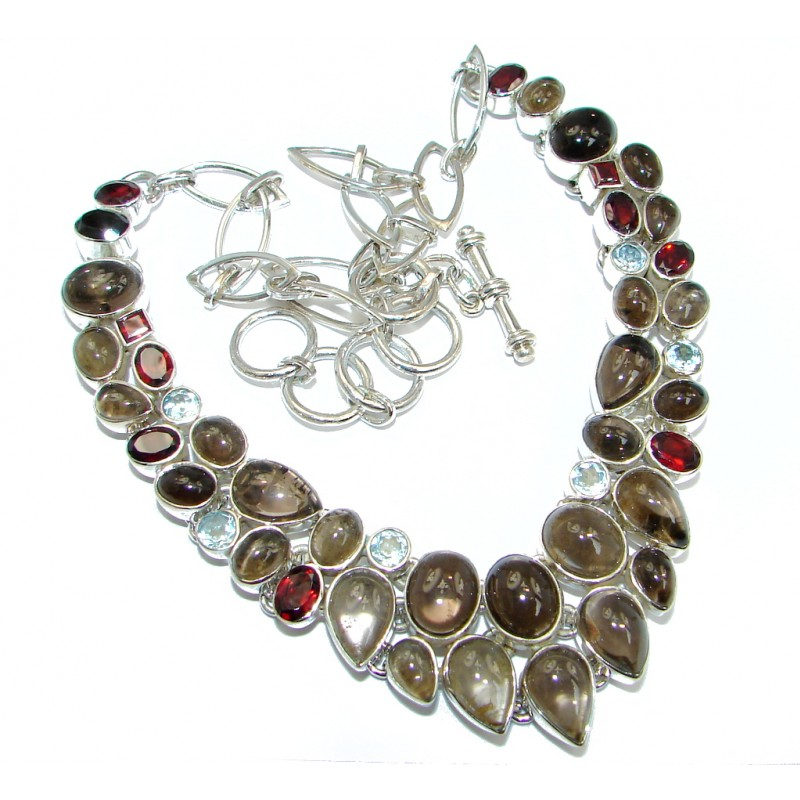 Multicolor Tourmaline Sterling Silver handcrafted necklace