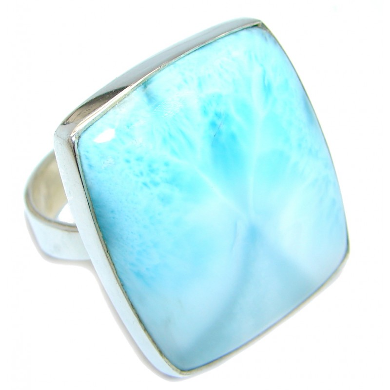Large Genuine AAA Larimar Sterling Silver handmade Ring size 10