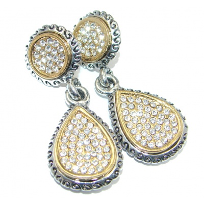 Exclusive White Topaz Two Tones Sterling Silver earrings