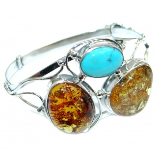 Beautiful Genuine Handcrafted Polish Amber Turquoise Sterling Silver Bracelet / Cuff
