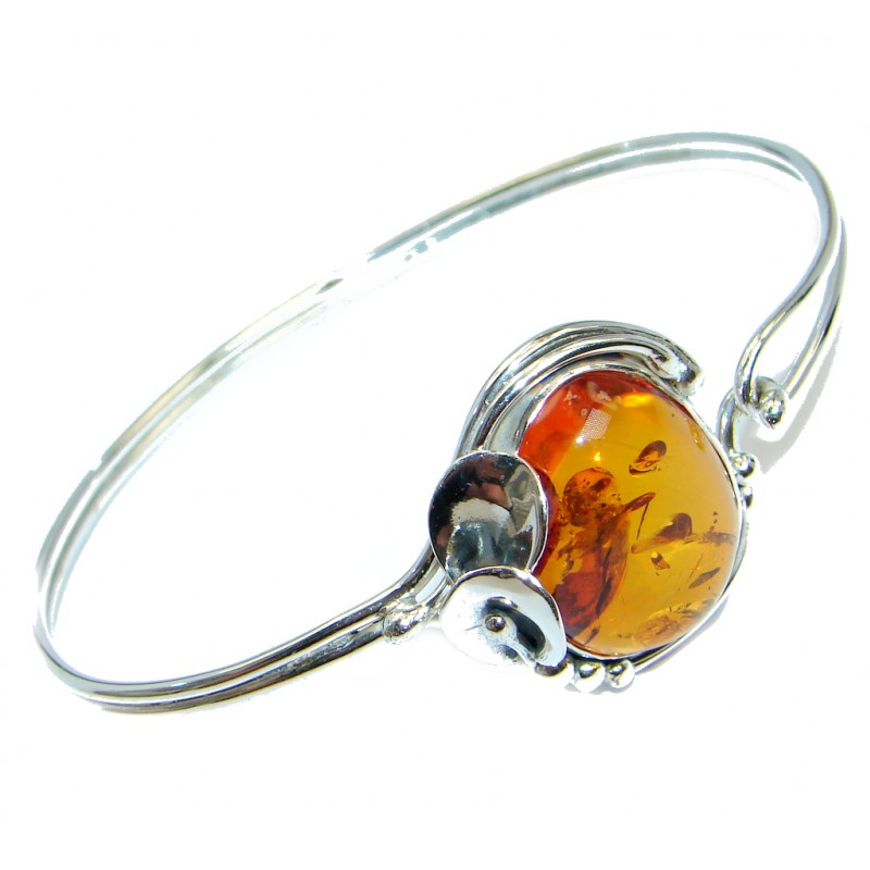 Beautiful Genuine Handcrafted Polish Amber Sterling Silver Bracelet / Cuff