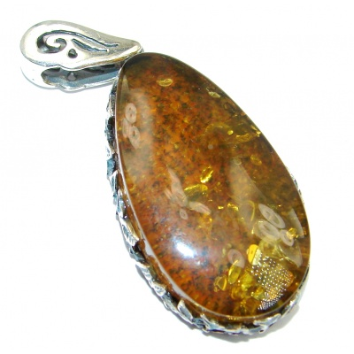 Vintage Design Golden natural Baltic Amber Sterling Silver Pendant