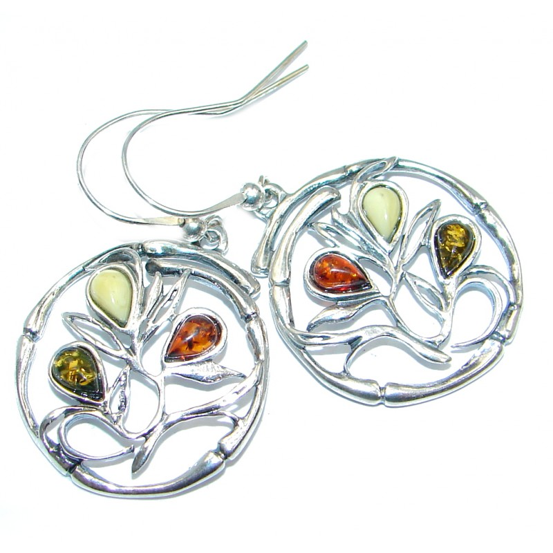 Classy Baltic Amber Sterling Silver handmade earrings