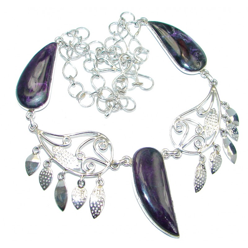 Natural Siberian Charoite Sterling Silver handmade Necklace