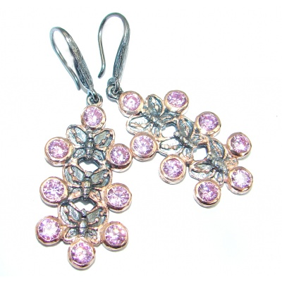 Pink Quartz Rose Gold Rhodium over Sterling Silver earrings