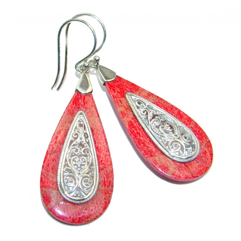 Deep Love Red Fossilized Coral Sterling Silver handcrafted earrings