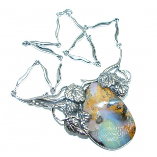 Authentic Australian Boulder Opal Sterling Silver handcrafted necklace