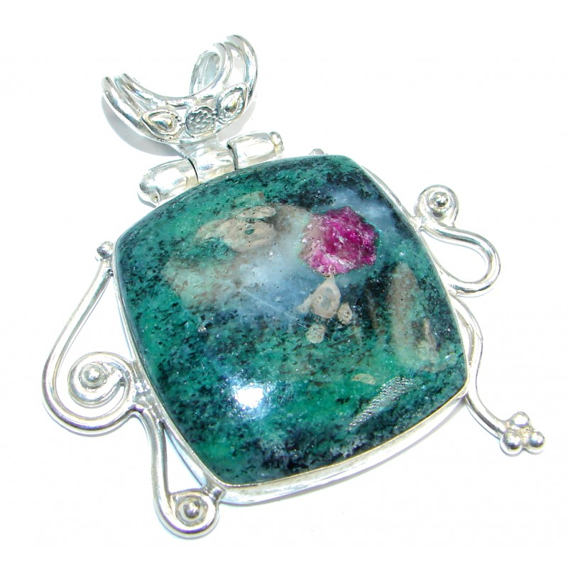 Amazing Ruby in Zoisite Silver Overlay handmade Pendant