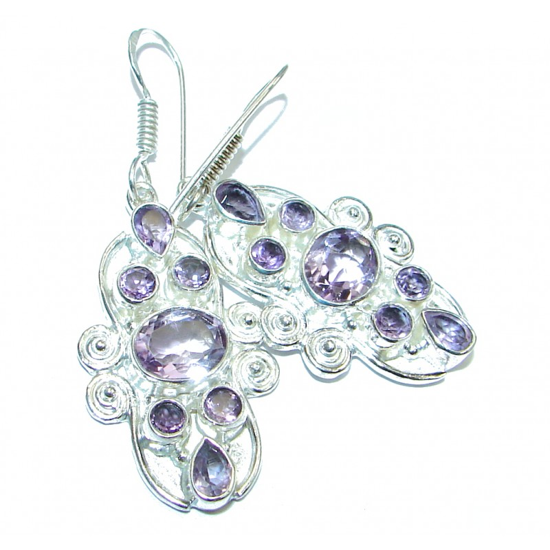 Perfect Natural Amethyst Silver Overlay handmade earrings
