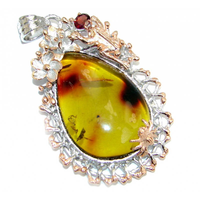 Vintage Design natural Green Baltic Amber Sterling Silver handmade Pendant