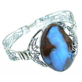 Norwegian Northern Lights AAA Boulder Opal handmade Sterling Silver Bracelet / Cuff