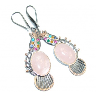 Secret Beauty Light Rose Quartz Rose Gold Rhodium plated over Sterling Silver earrings