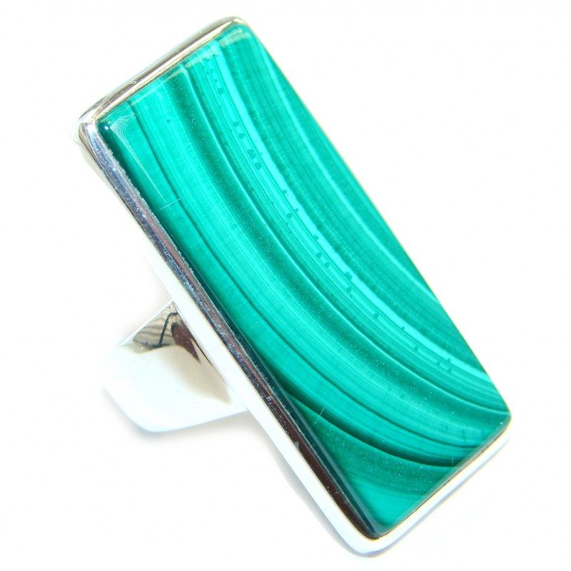 Big Natural AAA Green Malachite Sterling Silver ring s. 7 1/4