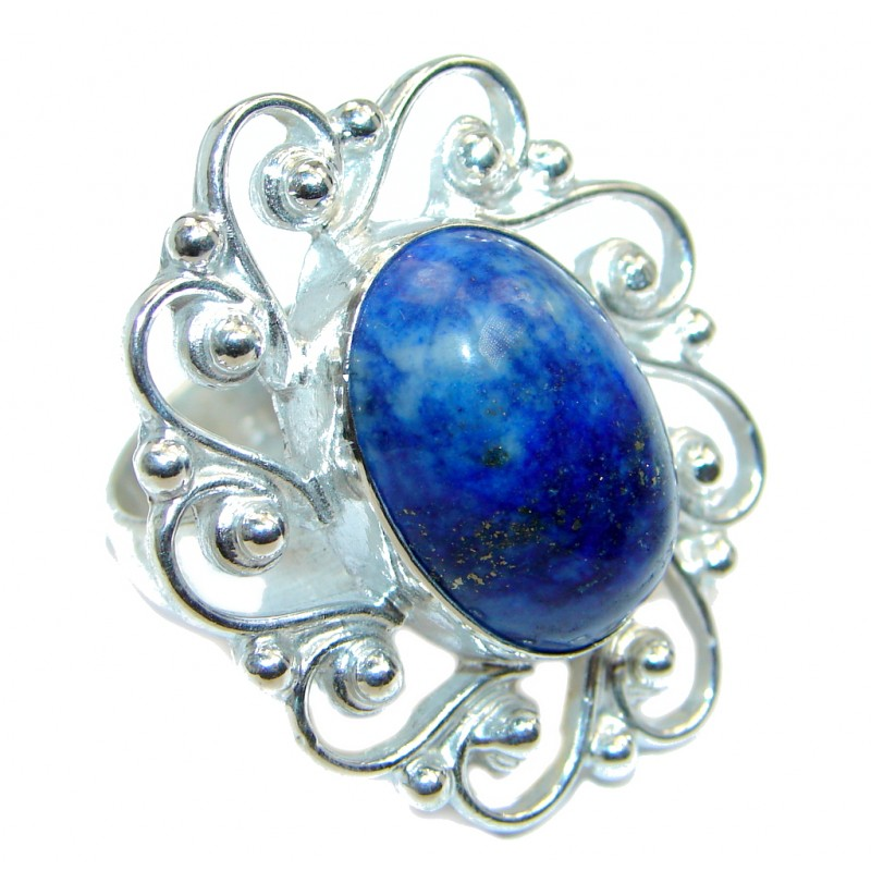 Perfect AAA Blue Lapis Lazuli Sterling Silver Ring size 8
