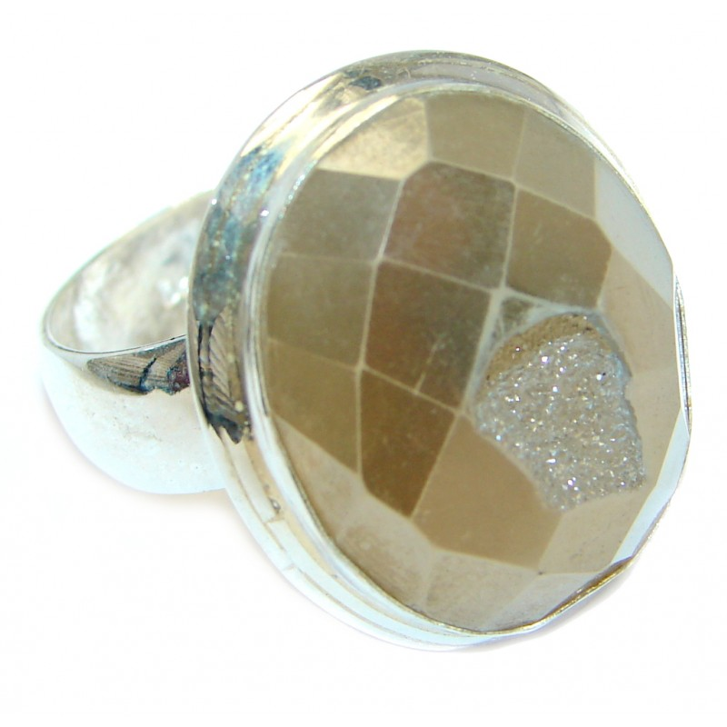 Golden Druzy Agate Sterling Silver Ring s. 8
