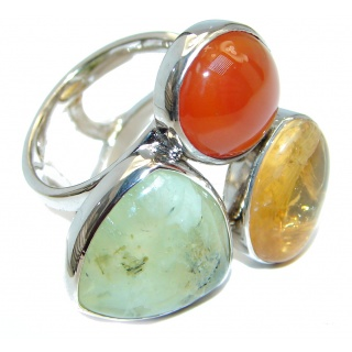 Fresh Green Moss Prehnite Amber Carnelian Sterling Silver ring; s. 8