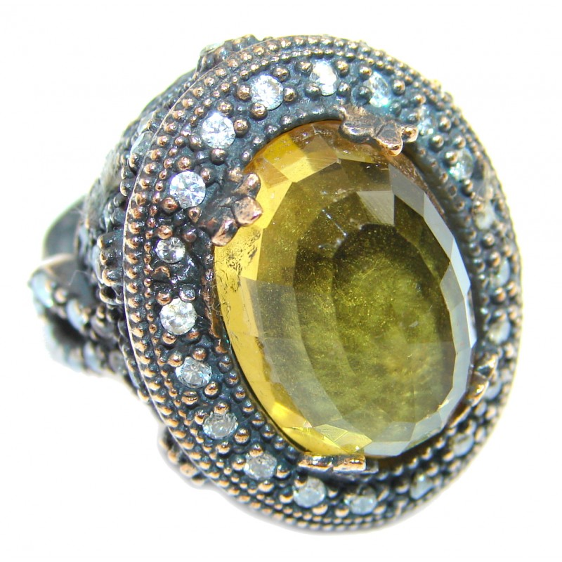 Large Victorian Style created Citrine & White Topaz Sterling Silver ring; s. 7