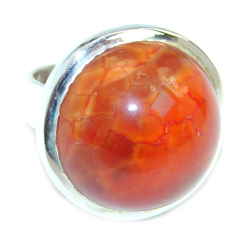 Genuine Mexican Fire Agate Gold over Sterling Silver ring s. 6 1/4