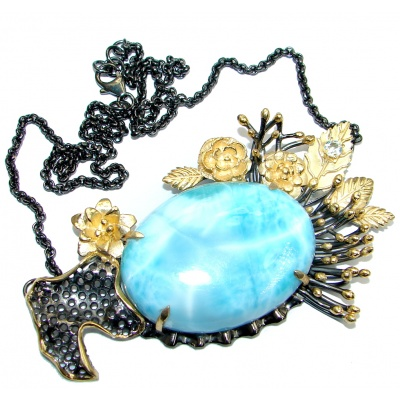 Natural AAA+ Blue Larimar Swiss Blue Topaz Gold plated over Sterling Silver handmade necklace