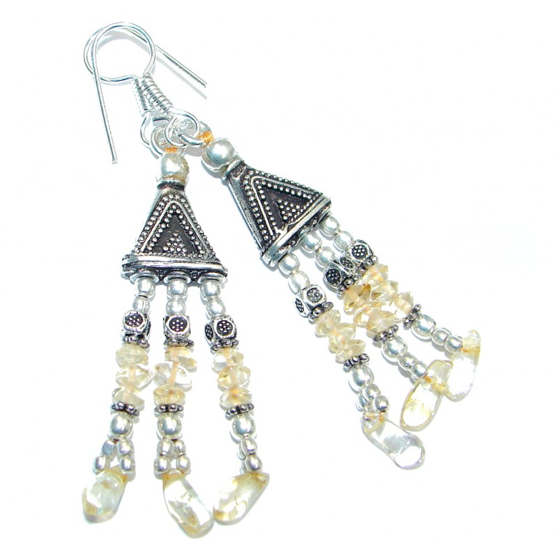 Ethnic Citrine Sterling Silver handmade earrings