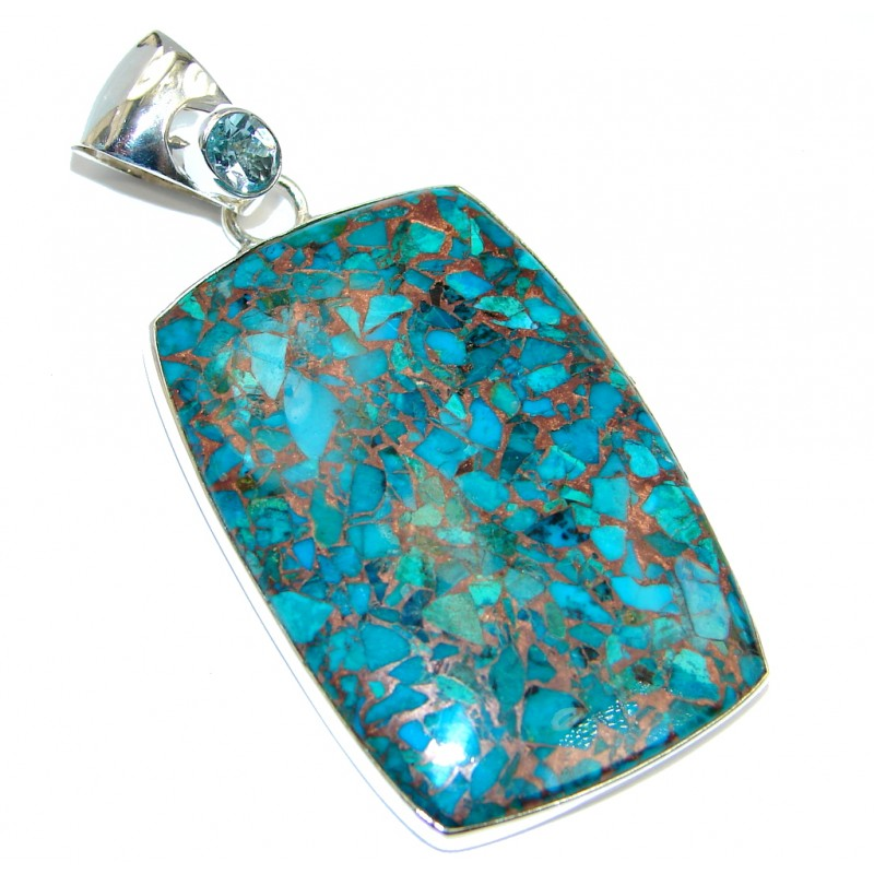 Big Blue Azurite with copper vains Sterling Silver Pendant