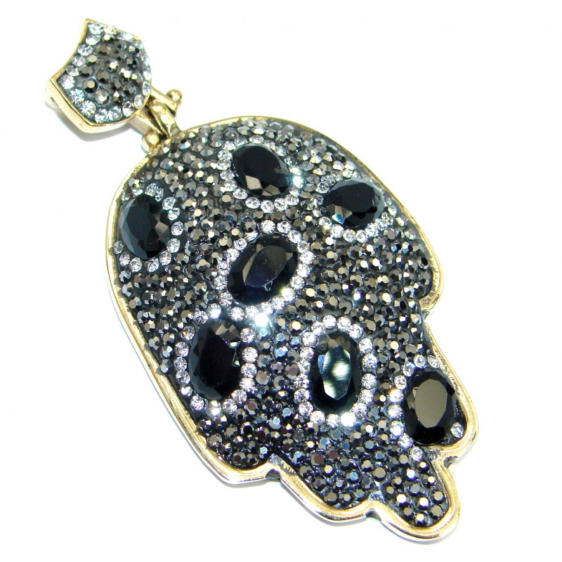 Large Victorian Style Hamsa Hand Onyx & White Topaz Sterling Silver Pendant