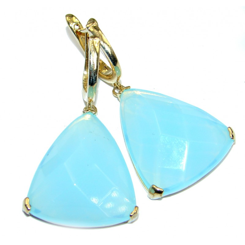 Stylish Blue River Chalcedony Agate Gold plated over Sterling Silver earrings