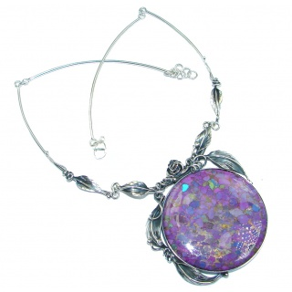 Great Quality Purple Turquoise Oxidized Sterling Silver handmade Necklace
