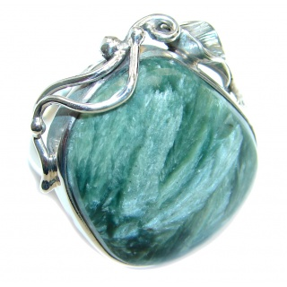 Amazing AAA Green Seraphinite Sterling Silver Ring size adjustable