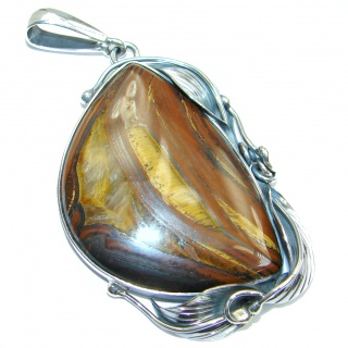 Oversized Golden Tigers Eye Sterling Silver handmade Pendant
